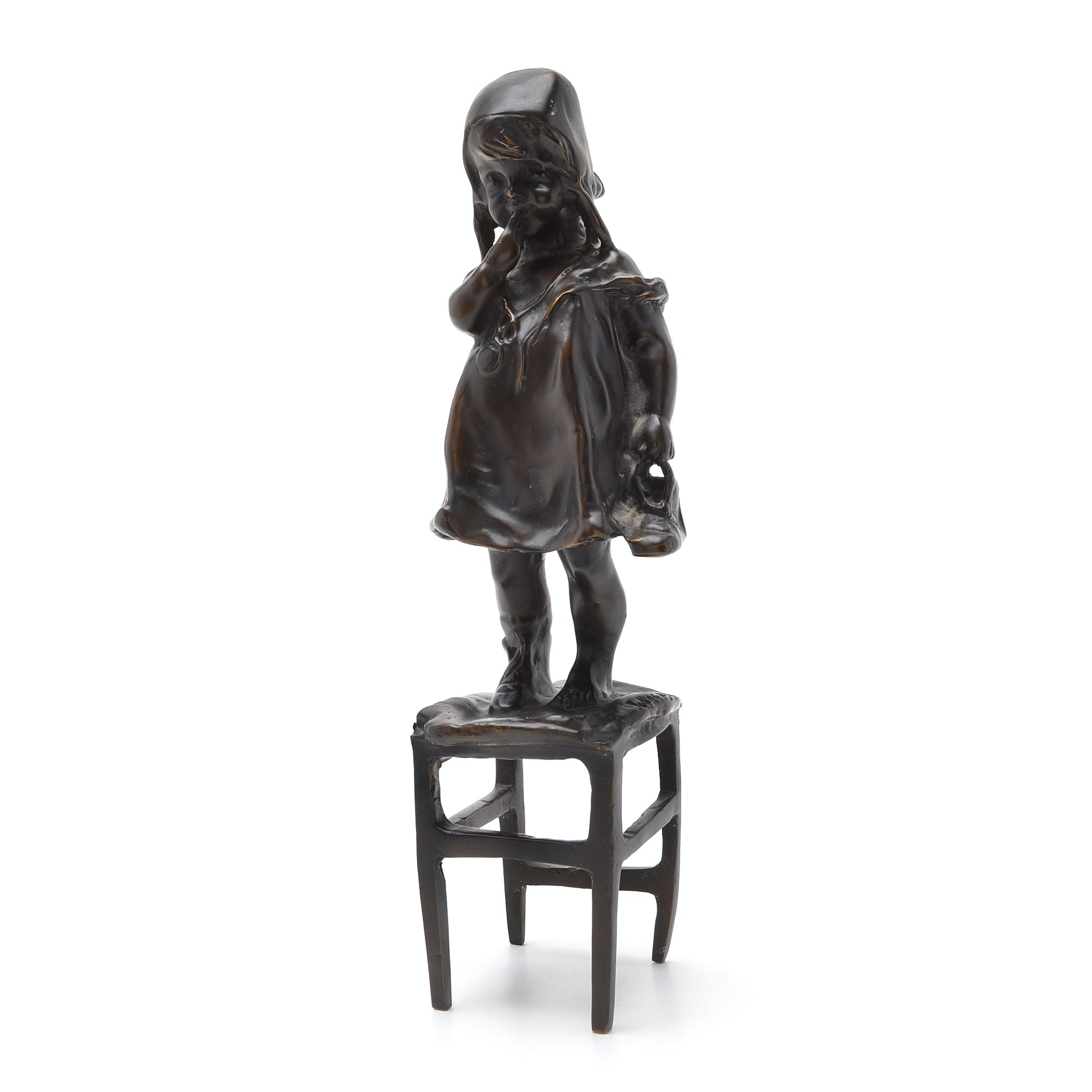 """Timid Child Standing On Chair"" Bronze Reproduction After Juan Clara (1875-1958)"