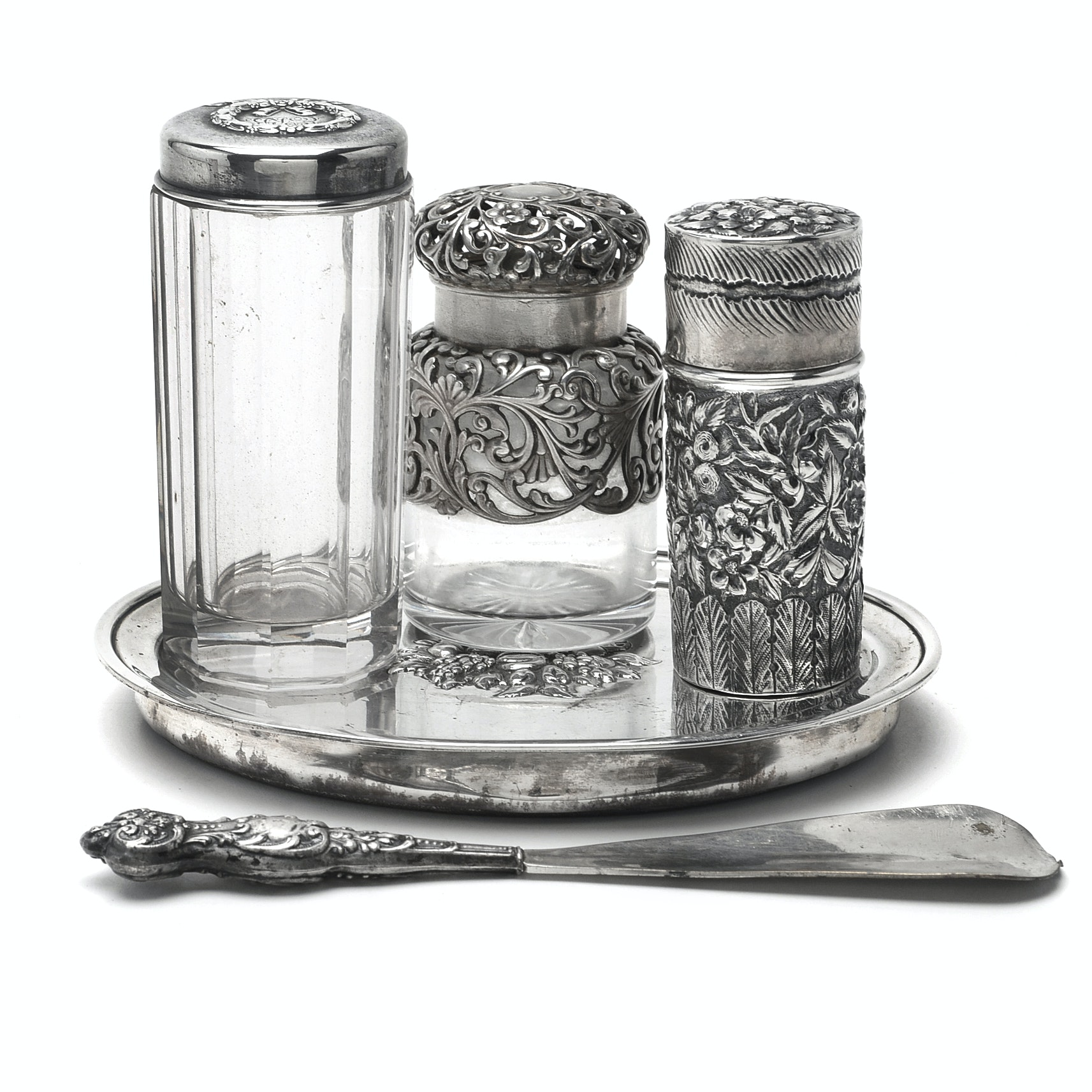 Antique Sterling  Silver Dressing Set and Weighted Sterling  Tray