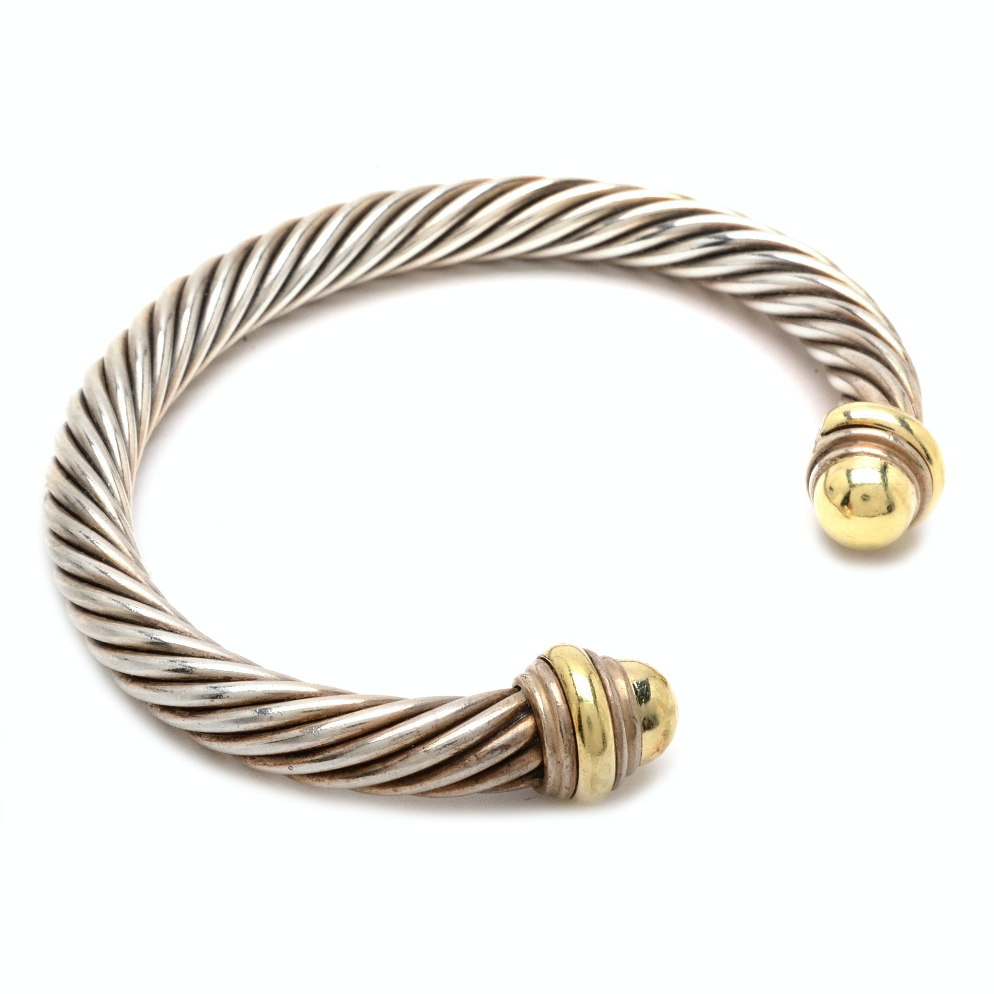 David Yurman Sterling Silver and 14K Yellow Gold Cuff Bracelet