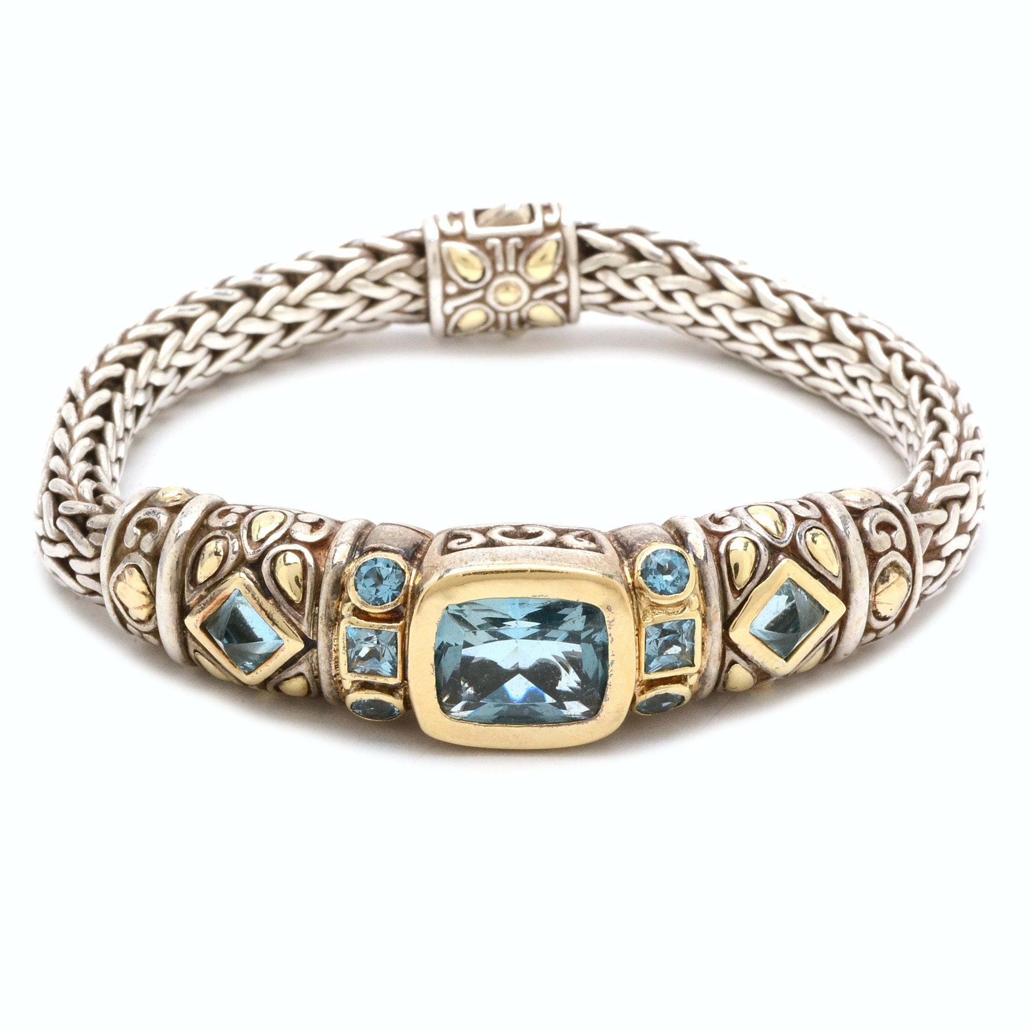 John Hardy Sterling Silver and 18K Yellow Gold Blue Topaz Bracelet
