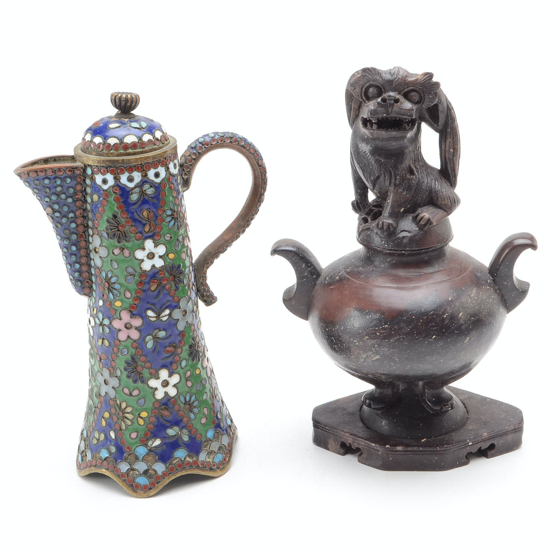Chinese Soapstone Urn and Cloisonne Ewer