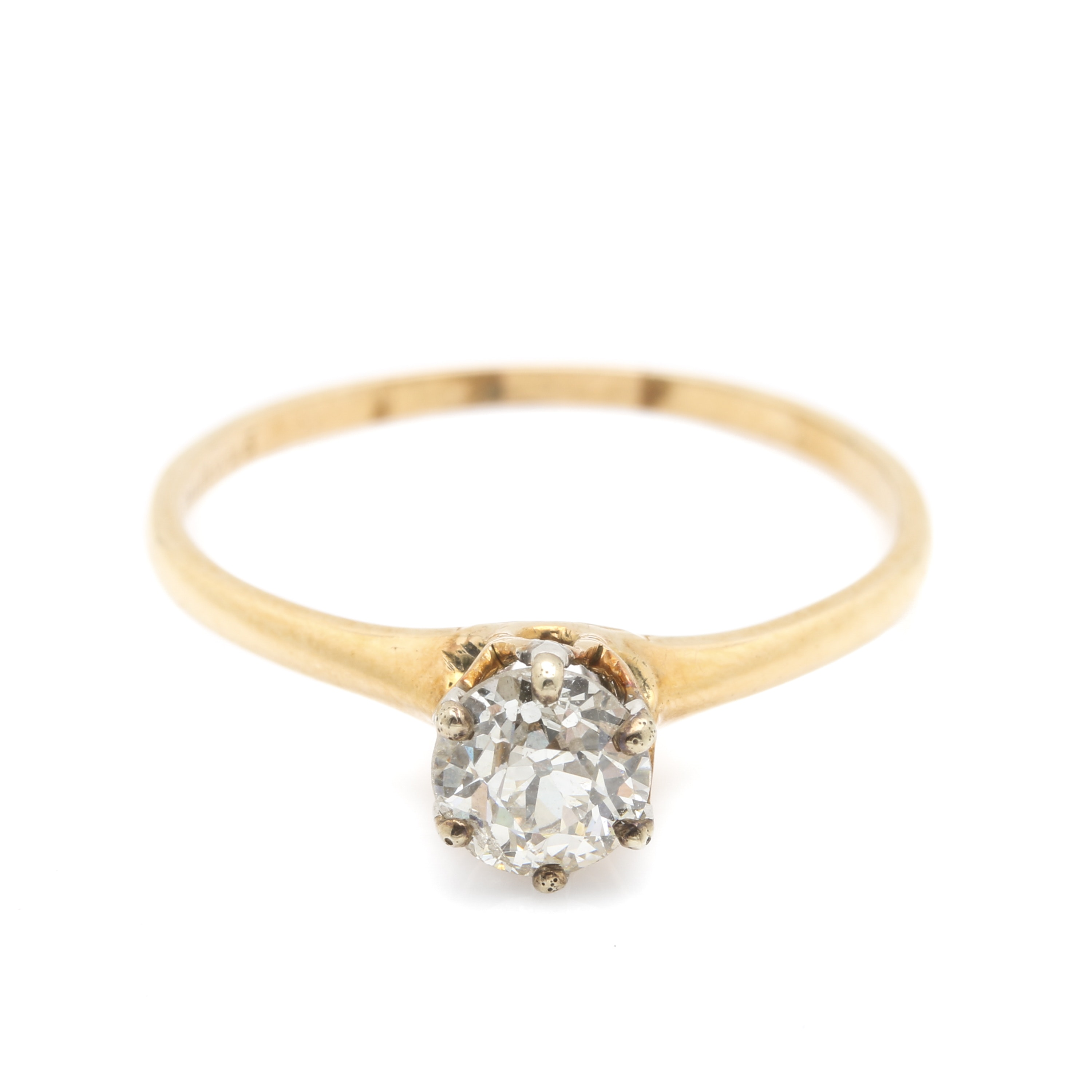Platinum and 14K Yellow Gold Solitaire Diamond Ring
