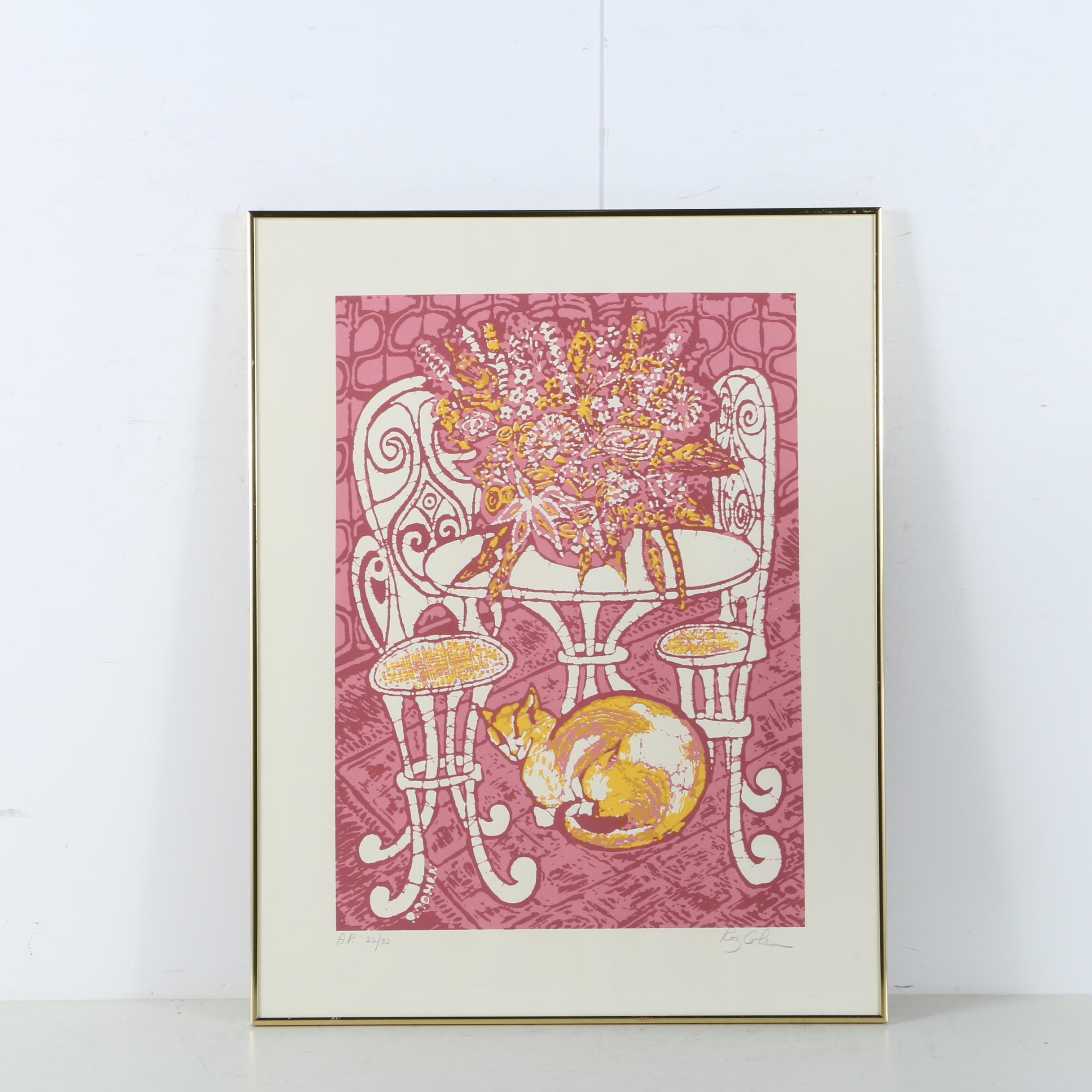 """Roz Cohen Limited Edition Serigraph """"Bouquet of Flowers and Cat"""""""