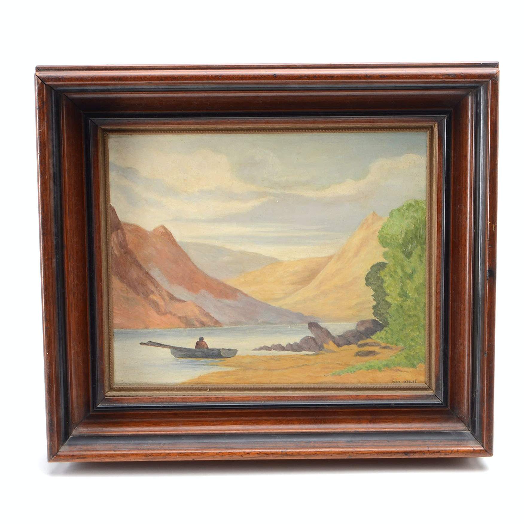 Signed Oil Painting on Board of a Mountain Lake