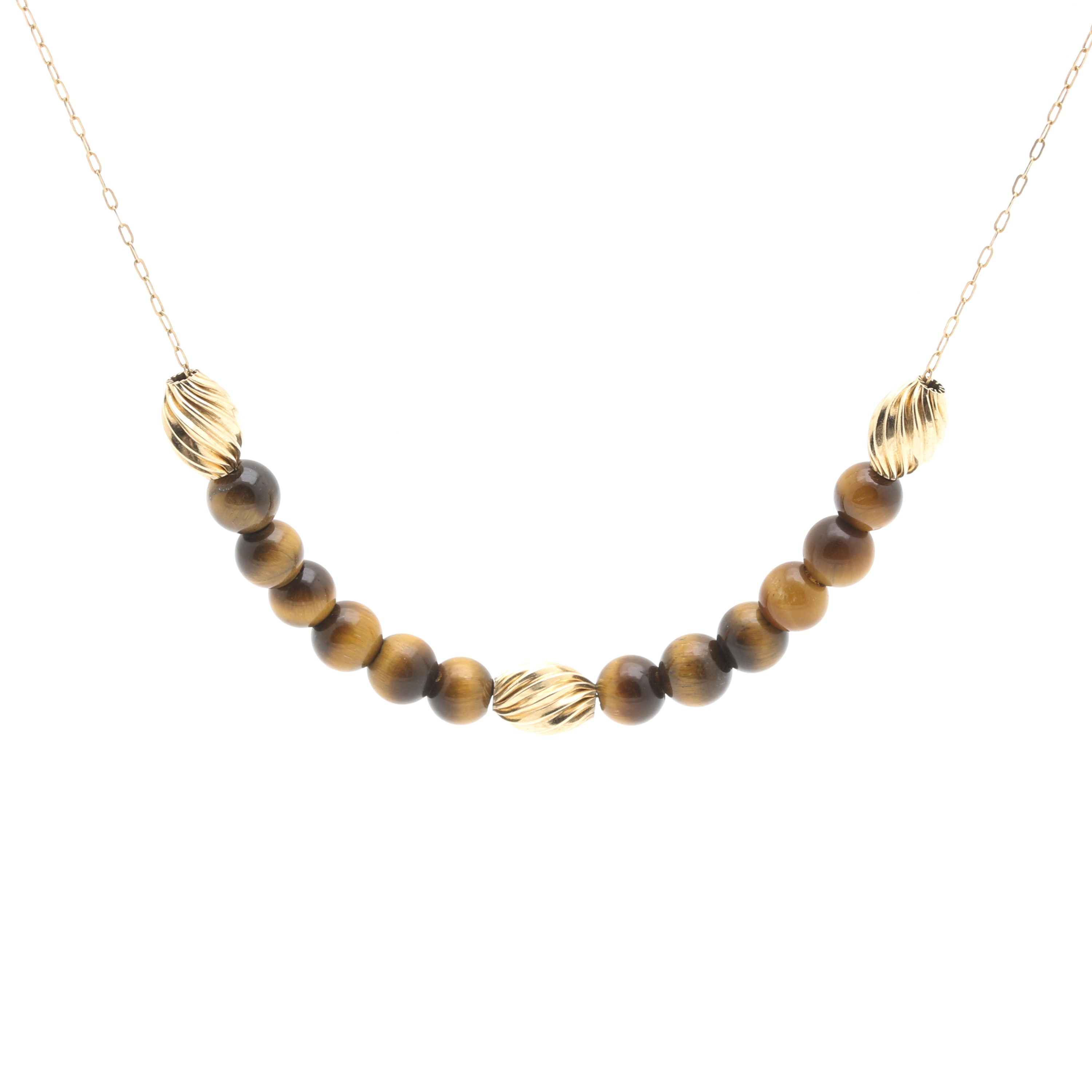 14K Yellow Gold Tigers Eye Bead Necklace