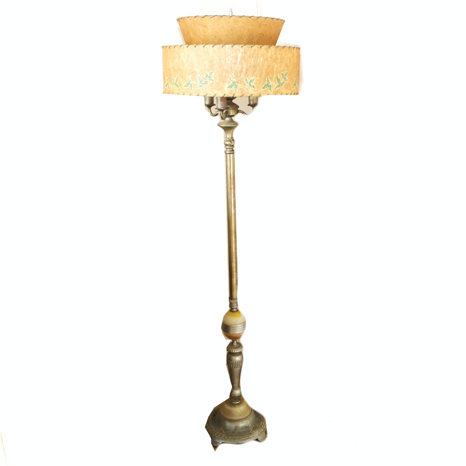 Victorian Style Brass Floor Lamp with a Mid Century Modern Shade