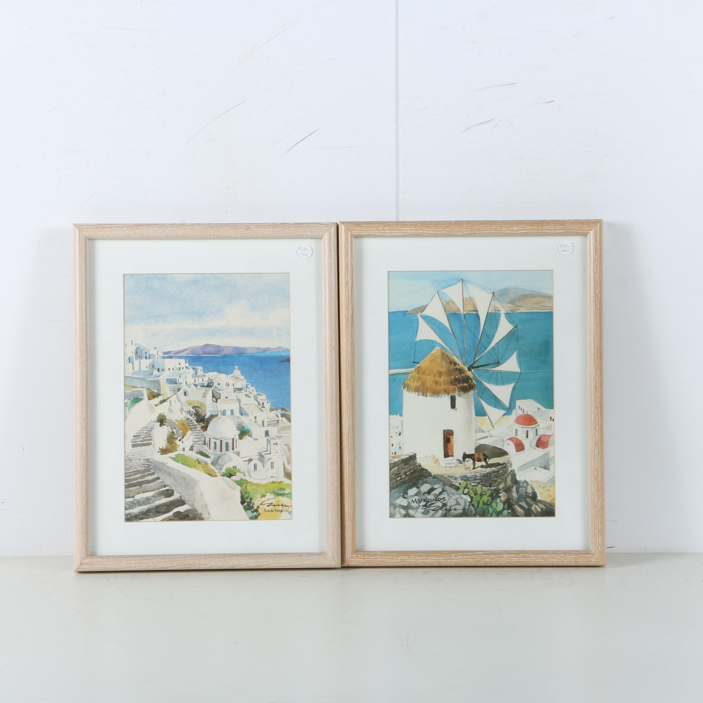"""Offset Lithographs on Paper """"Santorin"""" and """"Mykonos"""""""