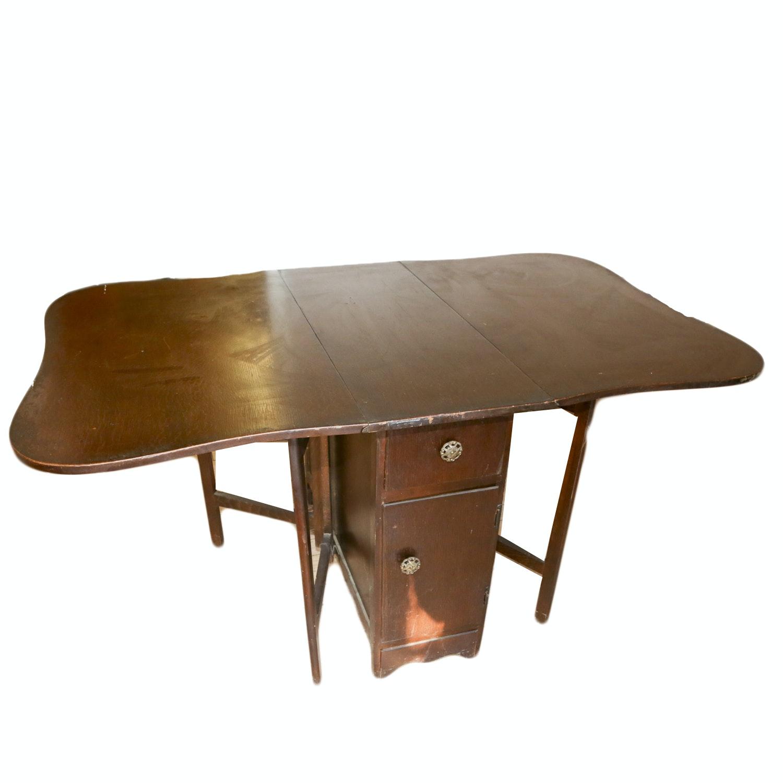 Oak Veneered Drop-Leaf Cabinet / Dining Table
