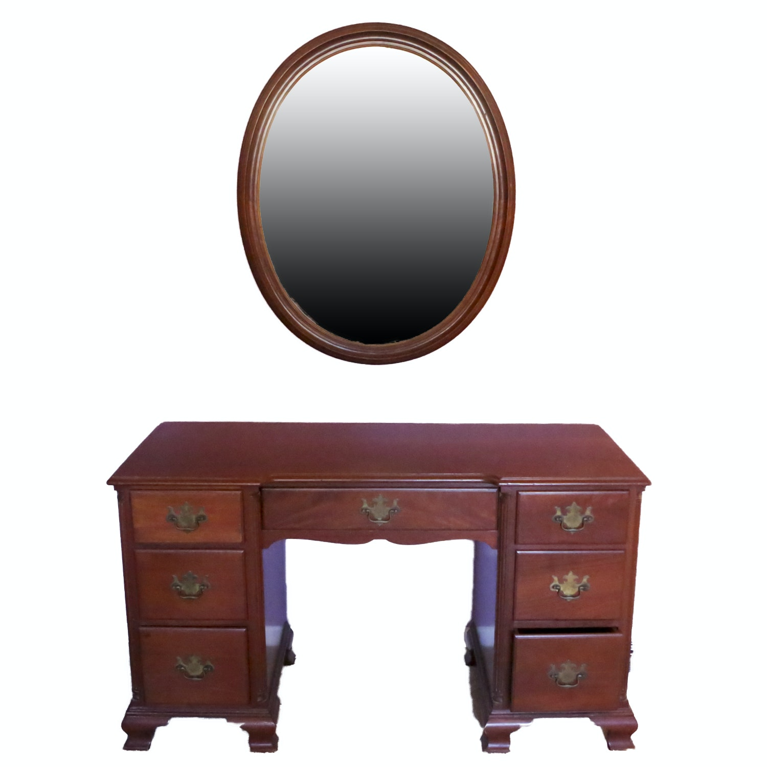 Circa 1960s Early American Style Cherry Double Pedestal Desk and Mirror