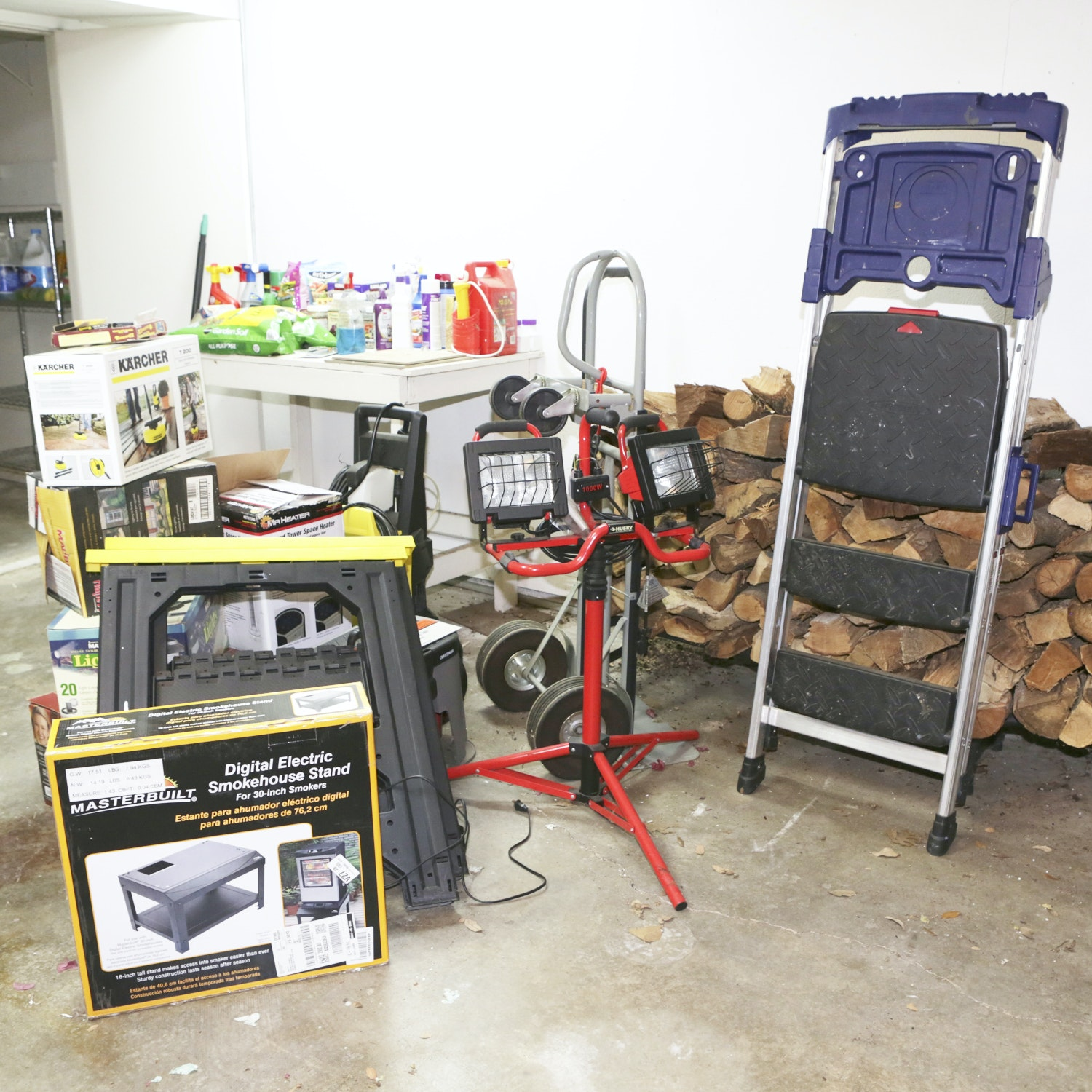 Assorted Tools Including Ladder, Light, Heater and More
