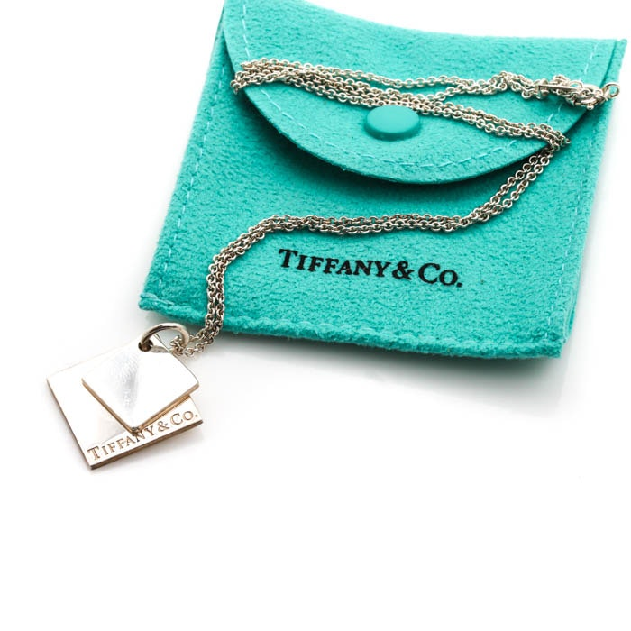 Tiffany & Co. Sterling Silver Double Square Pendant Necklace