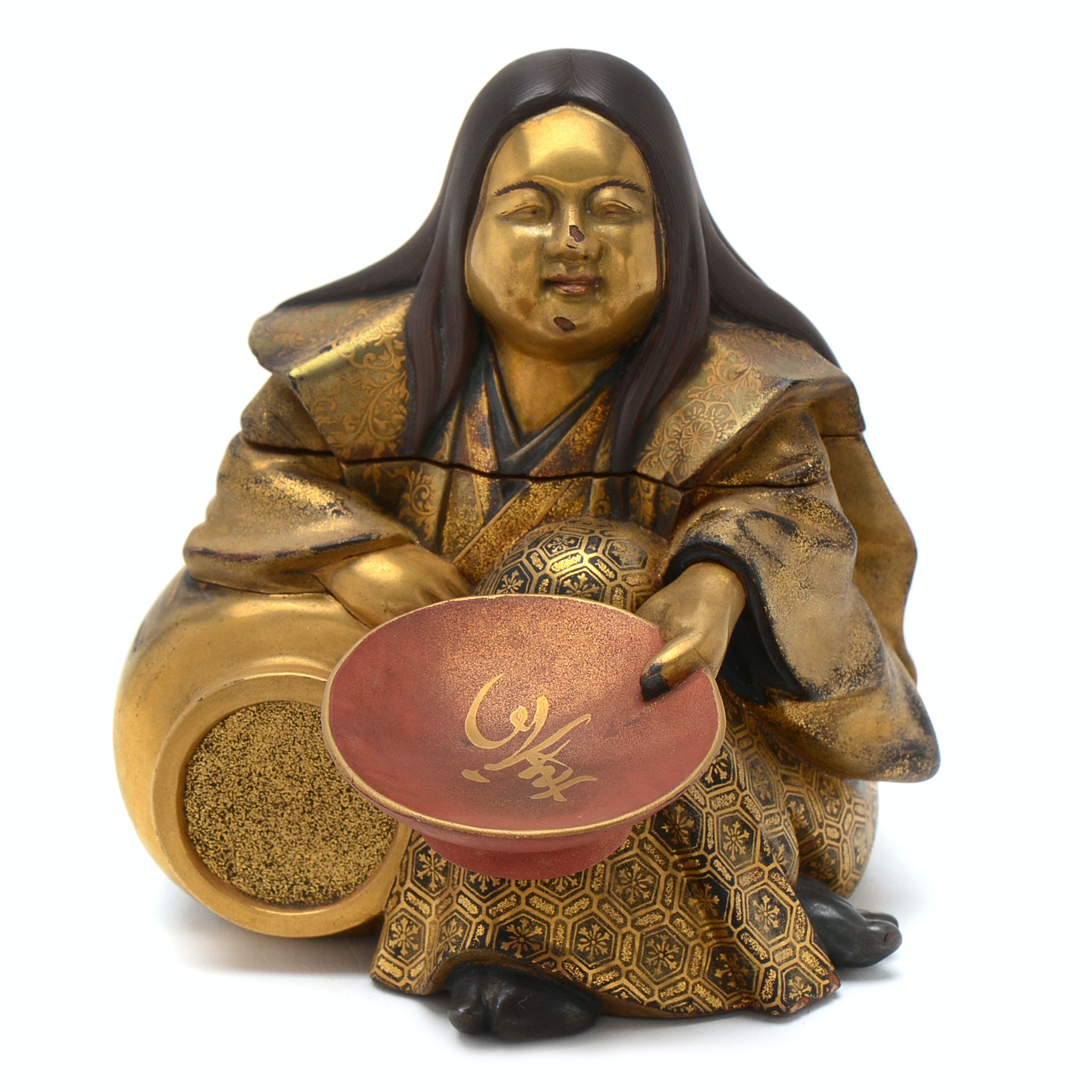 """Japanese Meiji Period """"Kobako"""" Lacquered Box in Unusual Figural Form"""