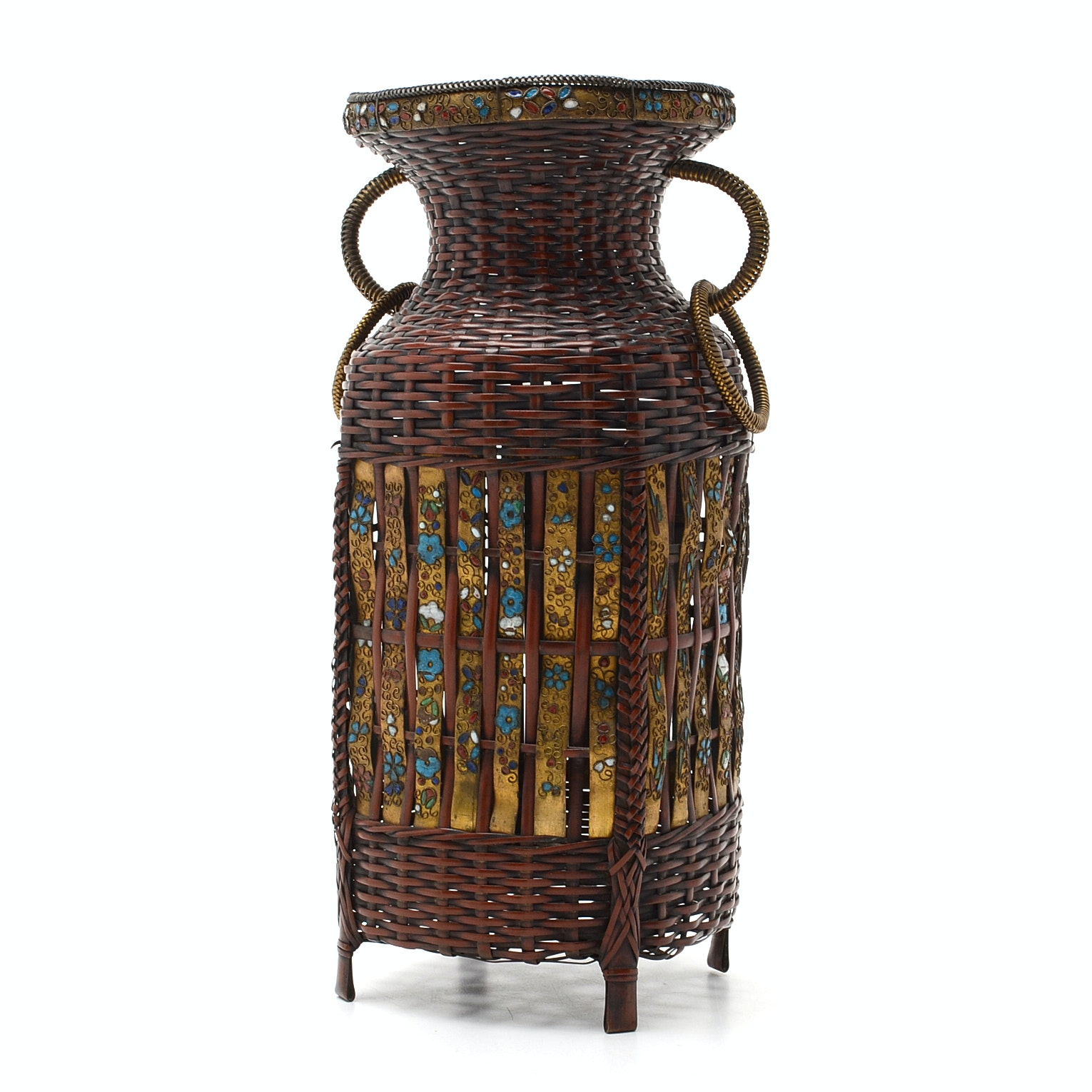 Japanese 20th Century Woven Metal Copper Ikibana Basket with Cloisonne