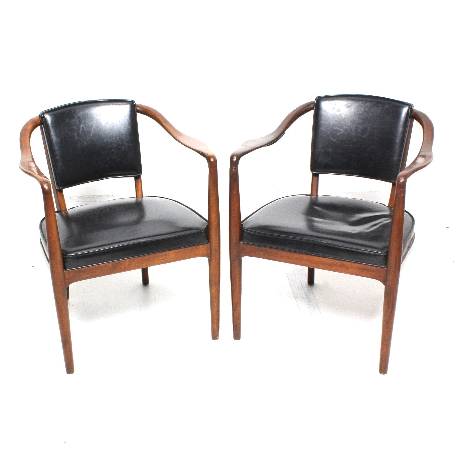 Modern Black Leather Armchairs
