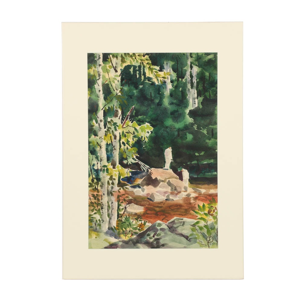 "Carl Zimmerman Watercolor Painting ""In a Deep Glen"""