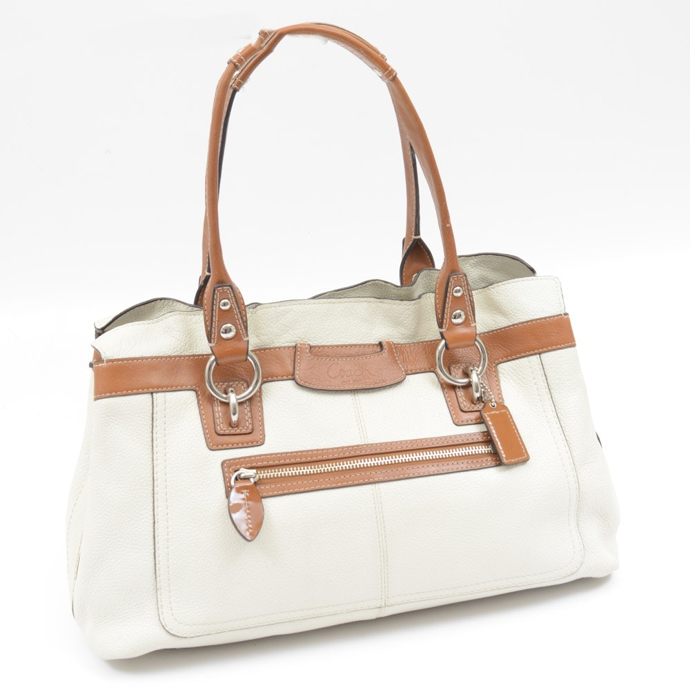 Coach Ivory Pebbled Leather Penelope Tote Bag
