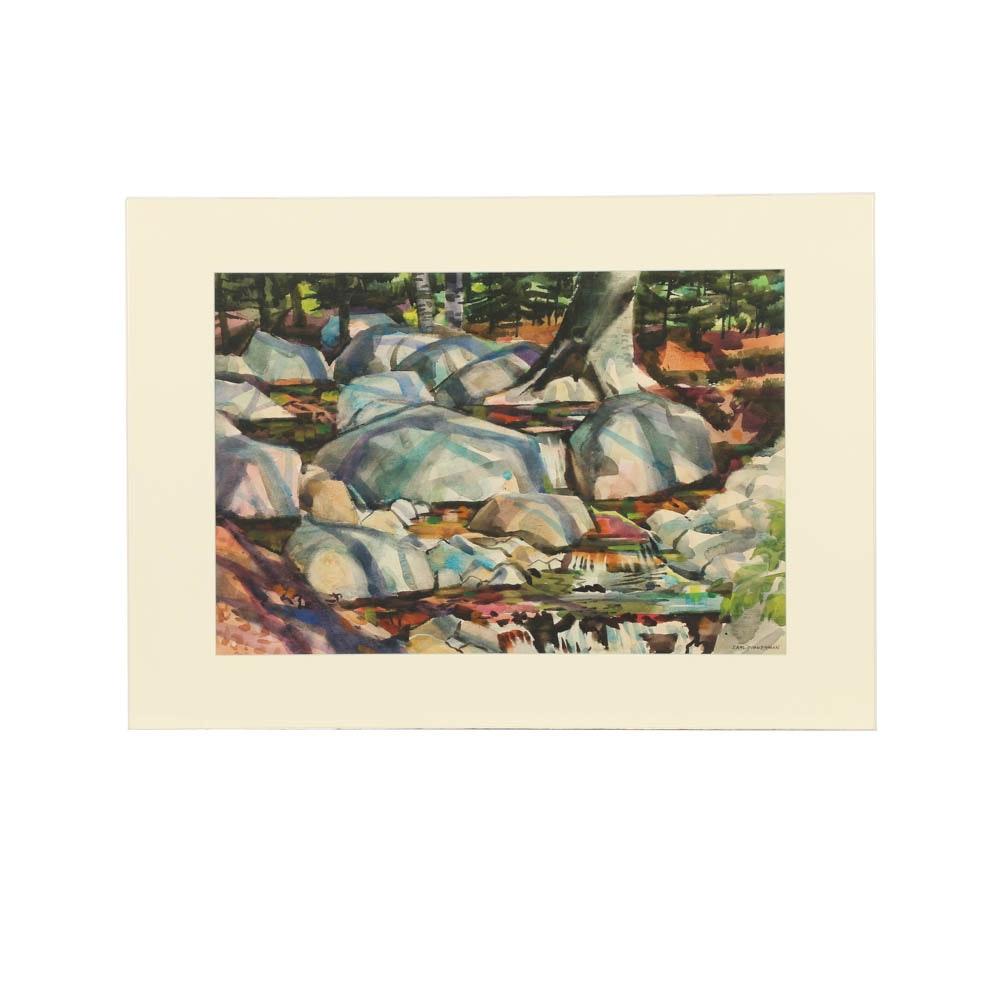 Carl Zimmerman Watercolor Painting