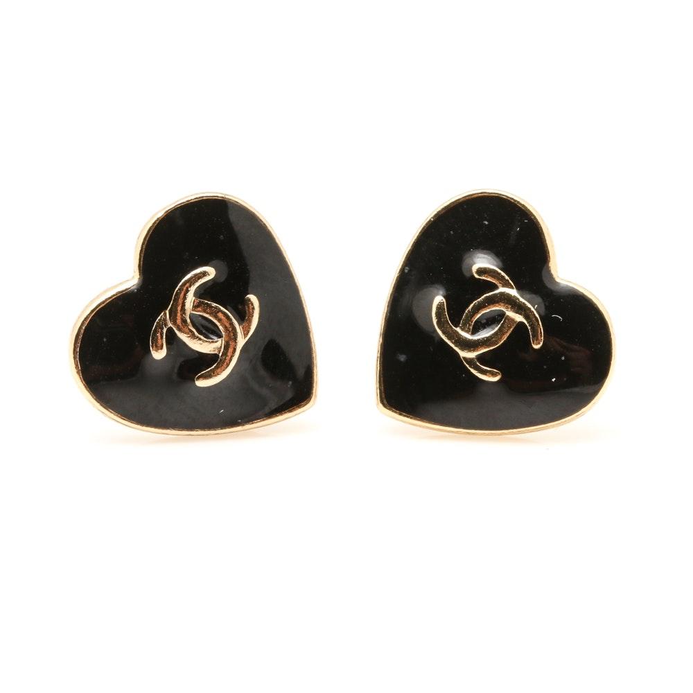 Chanel Enameled Heart Earrings