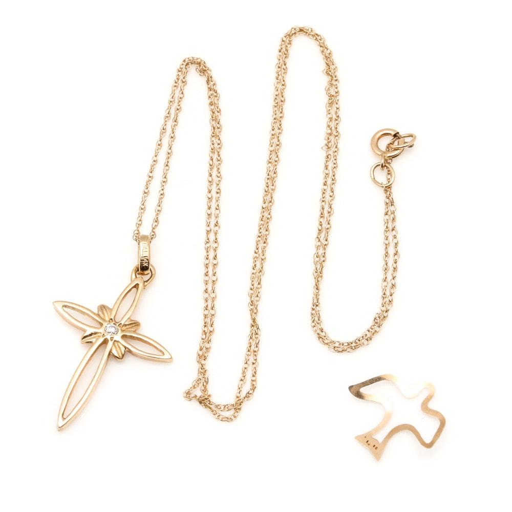 14K Yellow Gold Diamond Cross Necklace and Dove Pendant