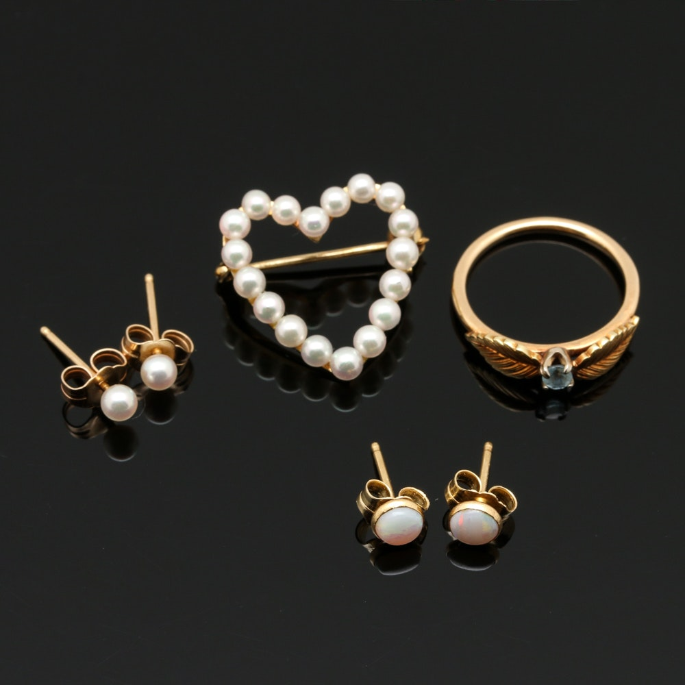14K Yellow Gold Jewelry Assortment Including Pearls
