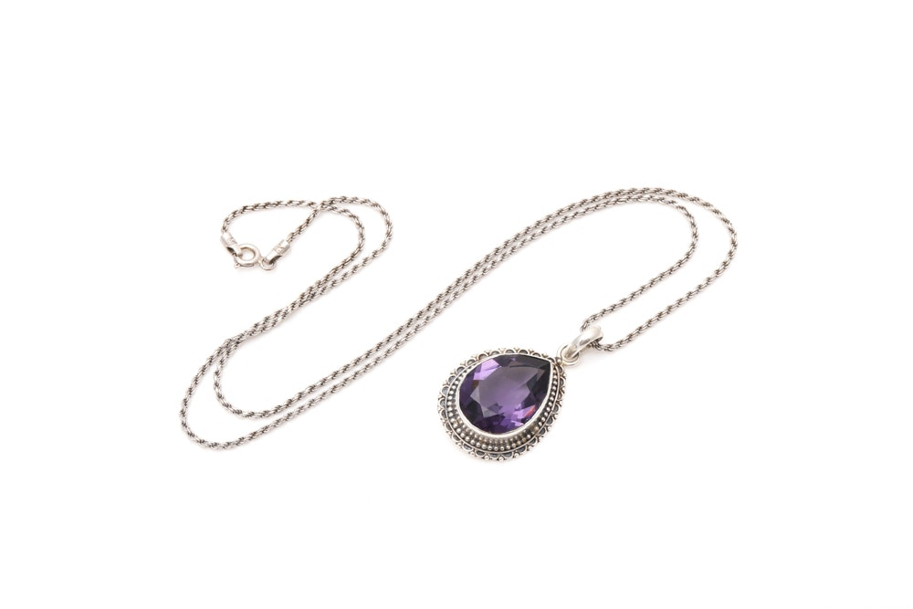 Sterling Silver and Purple Glass Pendant with Chain