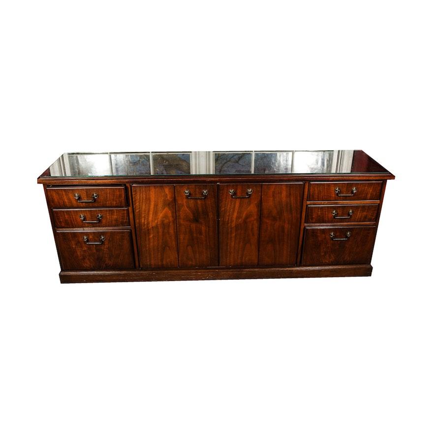 Vintage Kimball Office Walnut Credenza ... - Vintage Kimball Office Walnut Credenza : EBTH
