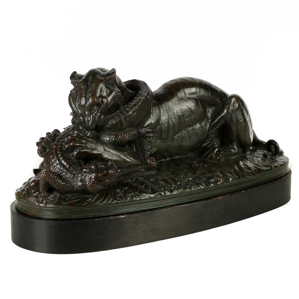 """Bronze Sculpture of Antoine-Louis Barye's """"Tigre Devorant un Gavial"""""""