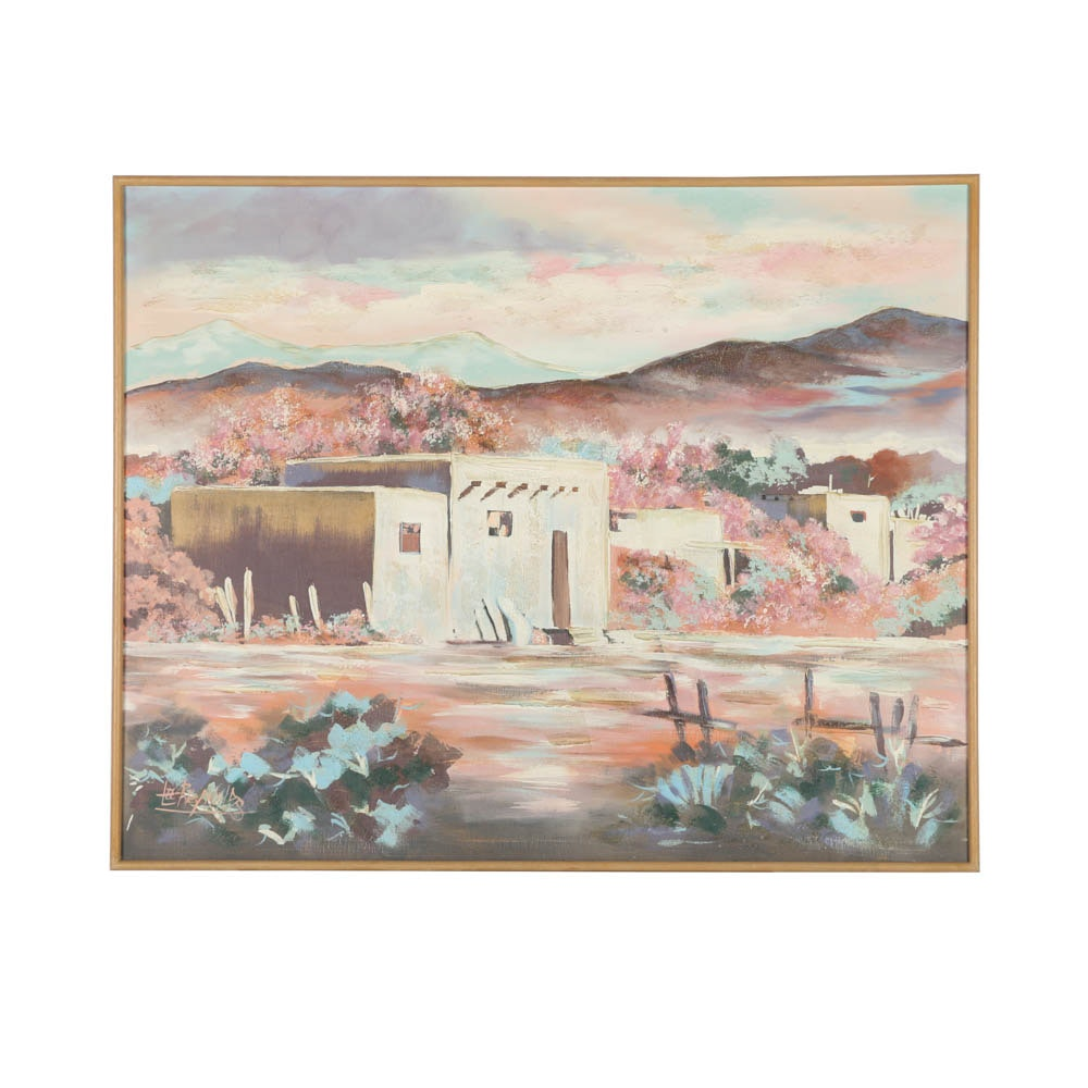 Lee Reynolds Oil Painting on Canvas of Pueblo Style Home