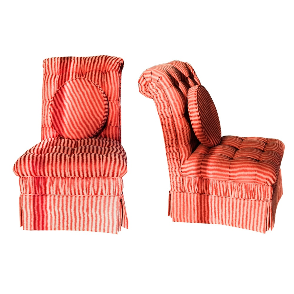 Pair of Striped Upholstered Parsons Chairs