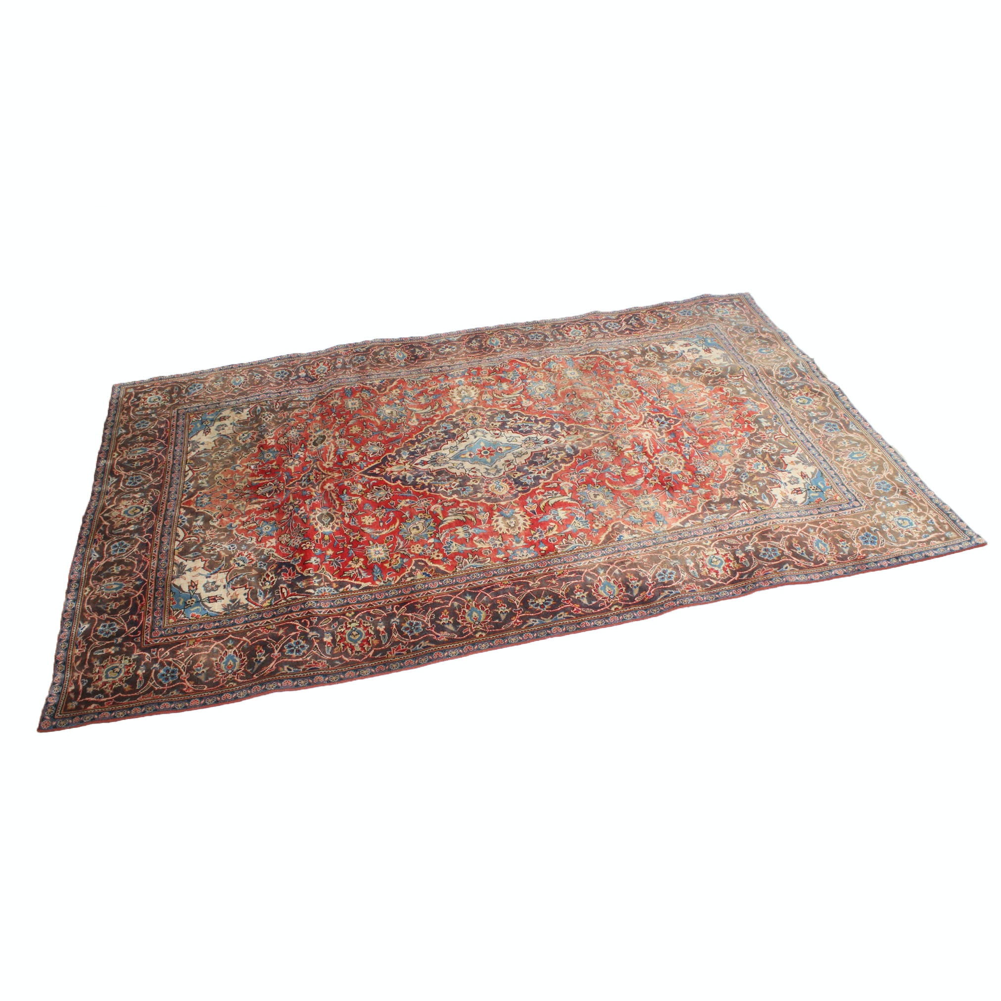 Hand-Knotted Persian Kashan Room Size Rug