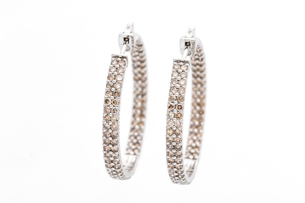 14K White Gold 3.73 CTW Diamond Earrings