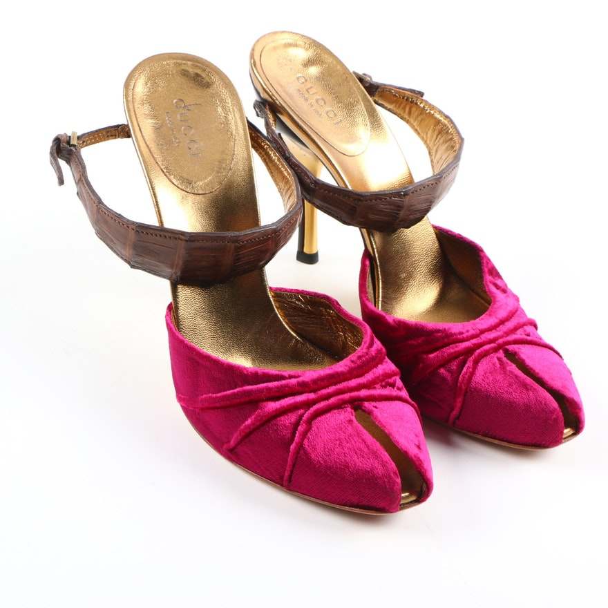 fa89106549a Gucci Fuchsia and Gold Tone Ankle Strap Pumps   EBTH