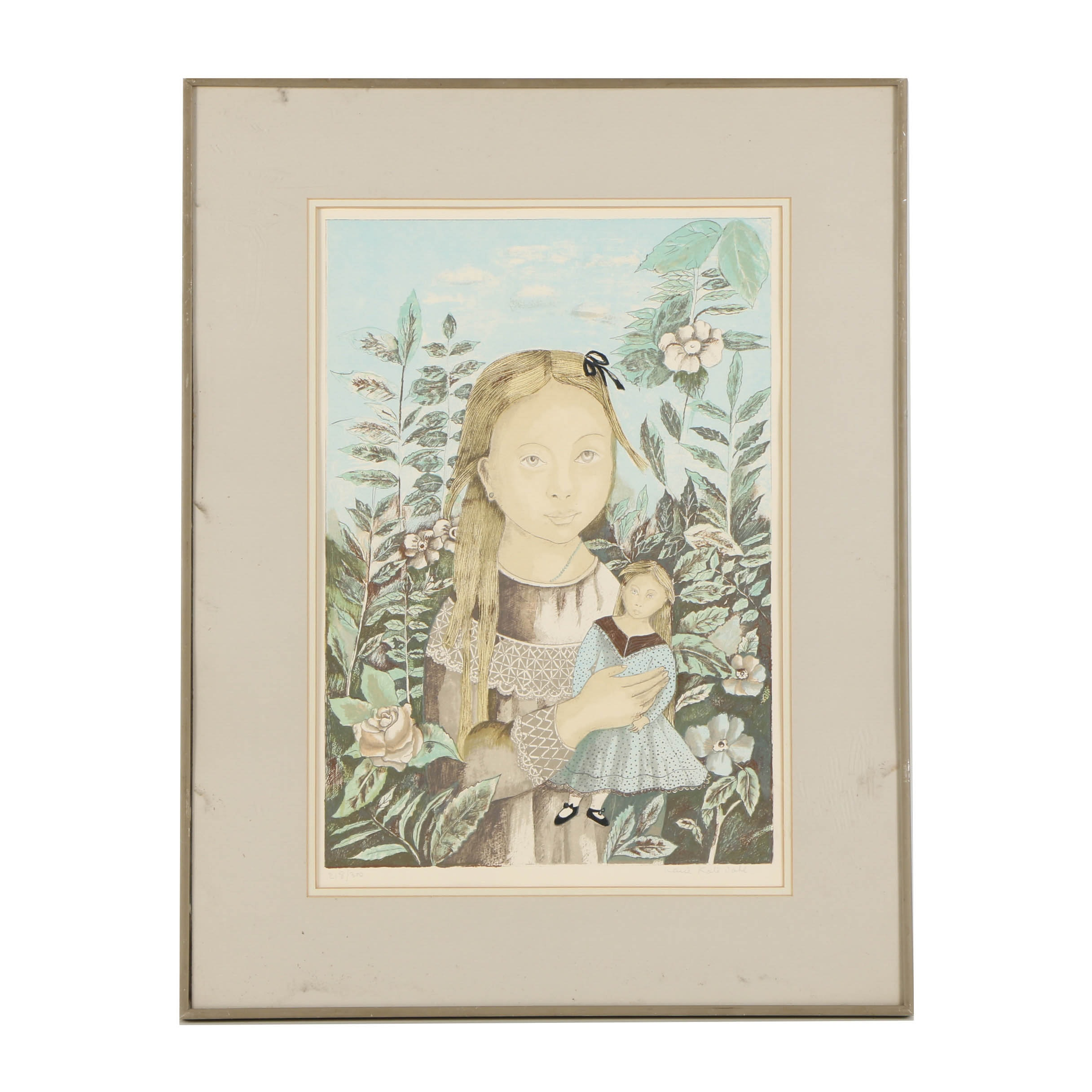 Marie-Kate Dahl Limited Edition Lithograph on Paper of Girl with Doll