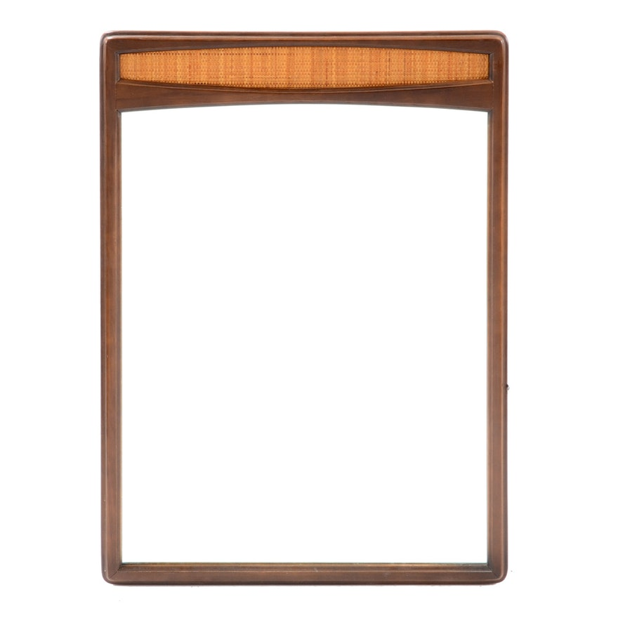 Mid Century Walnut Caned Panel Wall Mirror By Lane Furniture