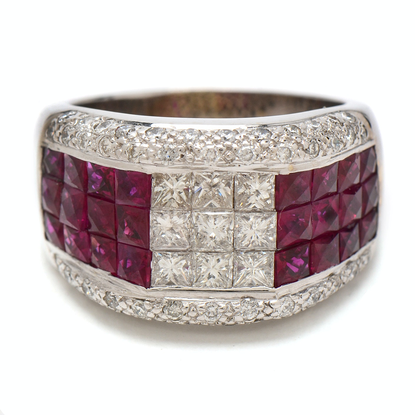 18K White Gold 1.88 CTW Diamond and Ruby Band