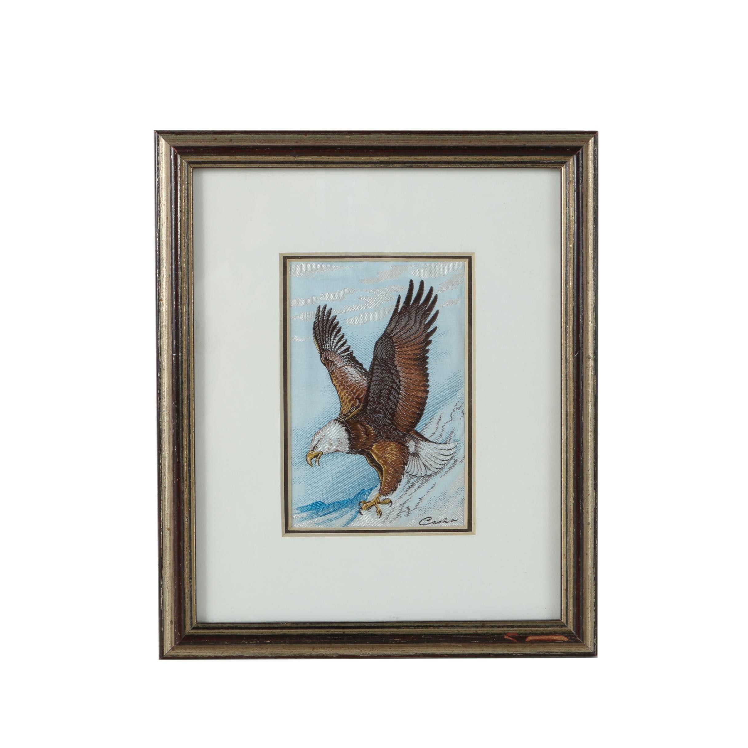 Woven Textile of a a Bald Eagle