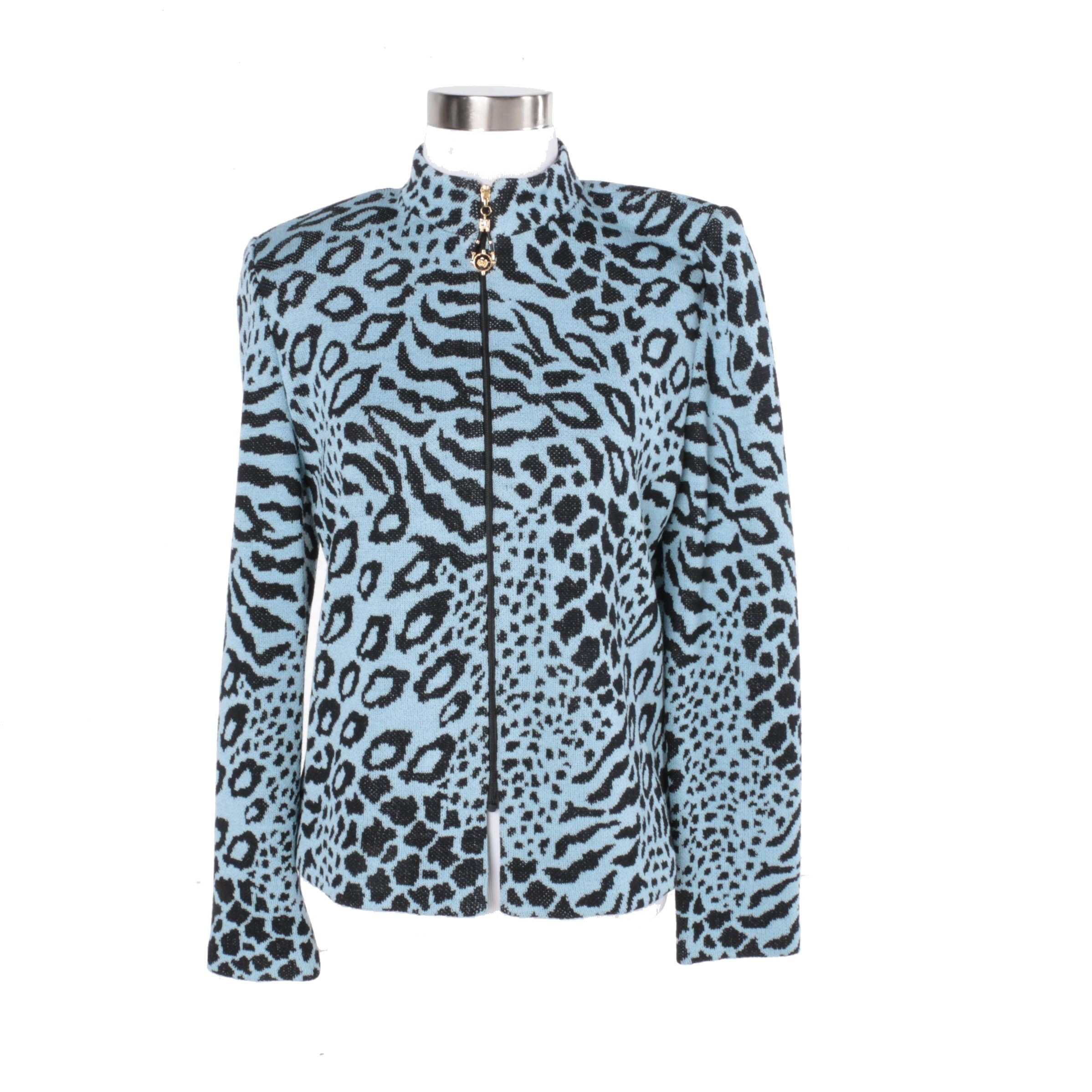 Women's St. John Collection by Marie Gray Leopard Print Cardigan ...
