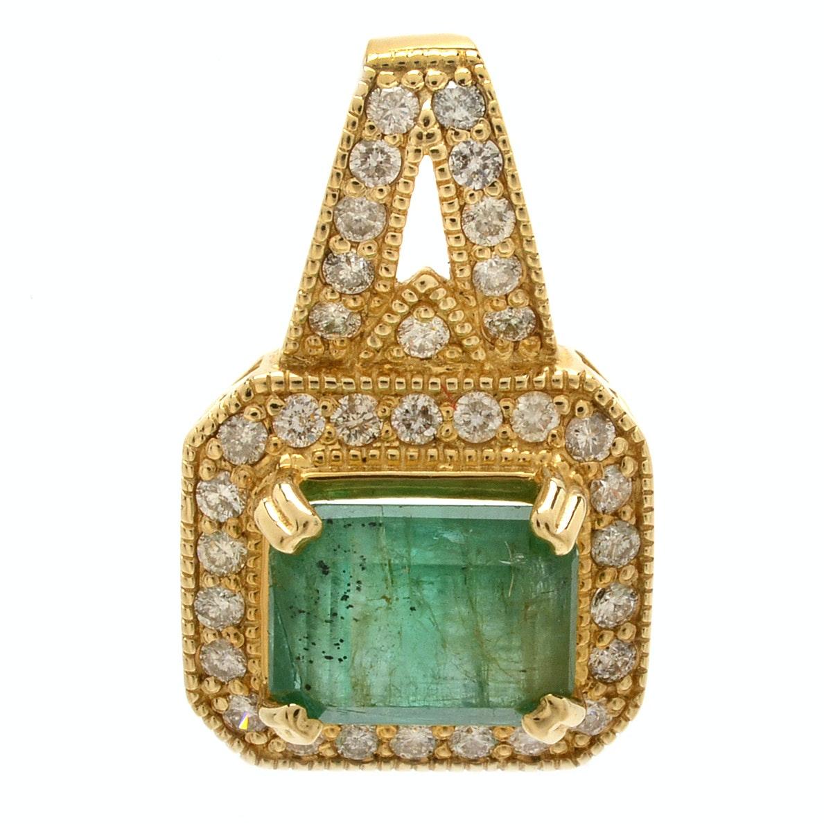 14K Yellow Gold Emerald and Diamond Milgrain Pendant