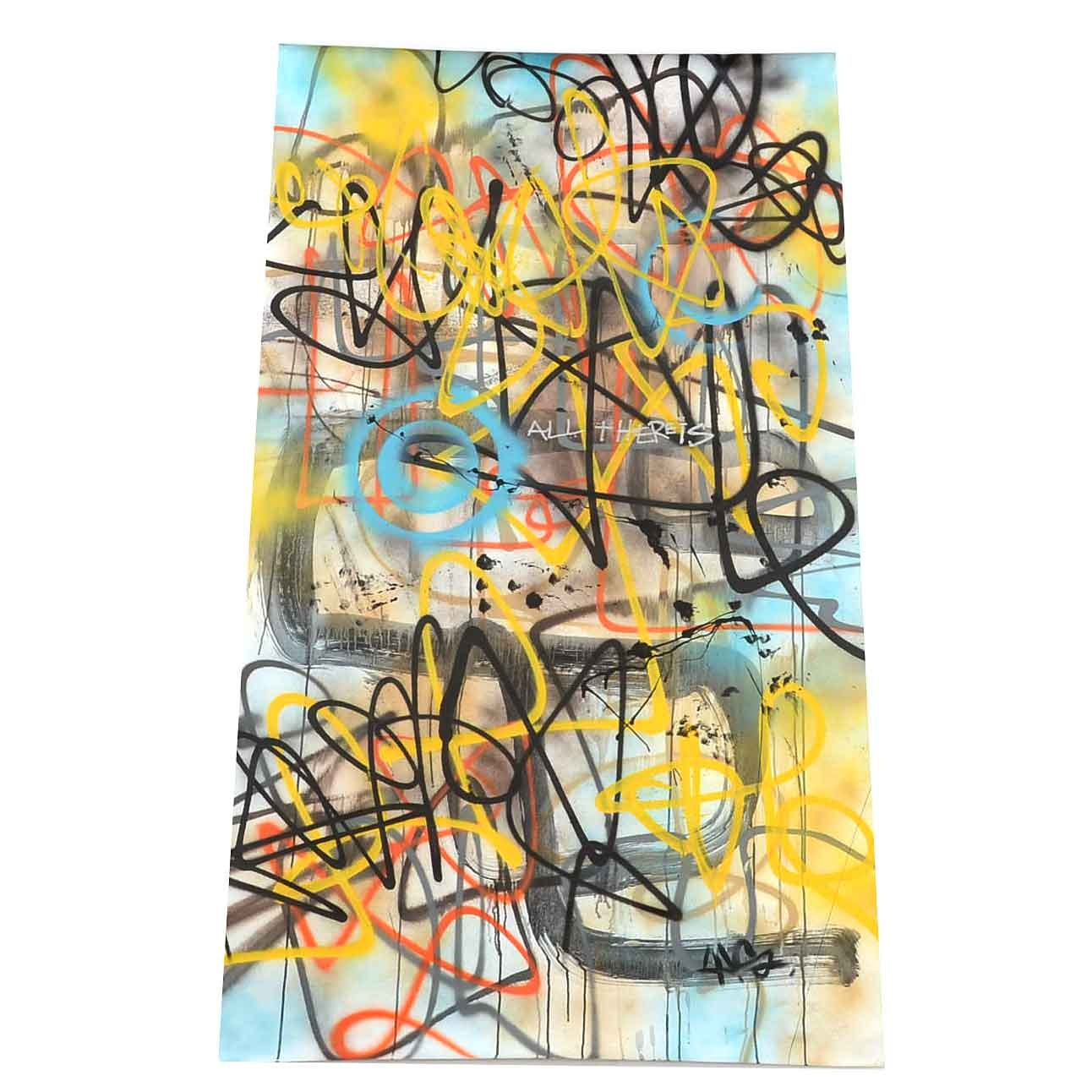 Wall Street Original Mixed Media Street Art on Unstretched Canvas