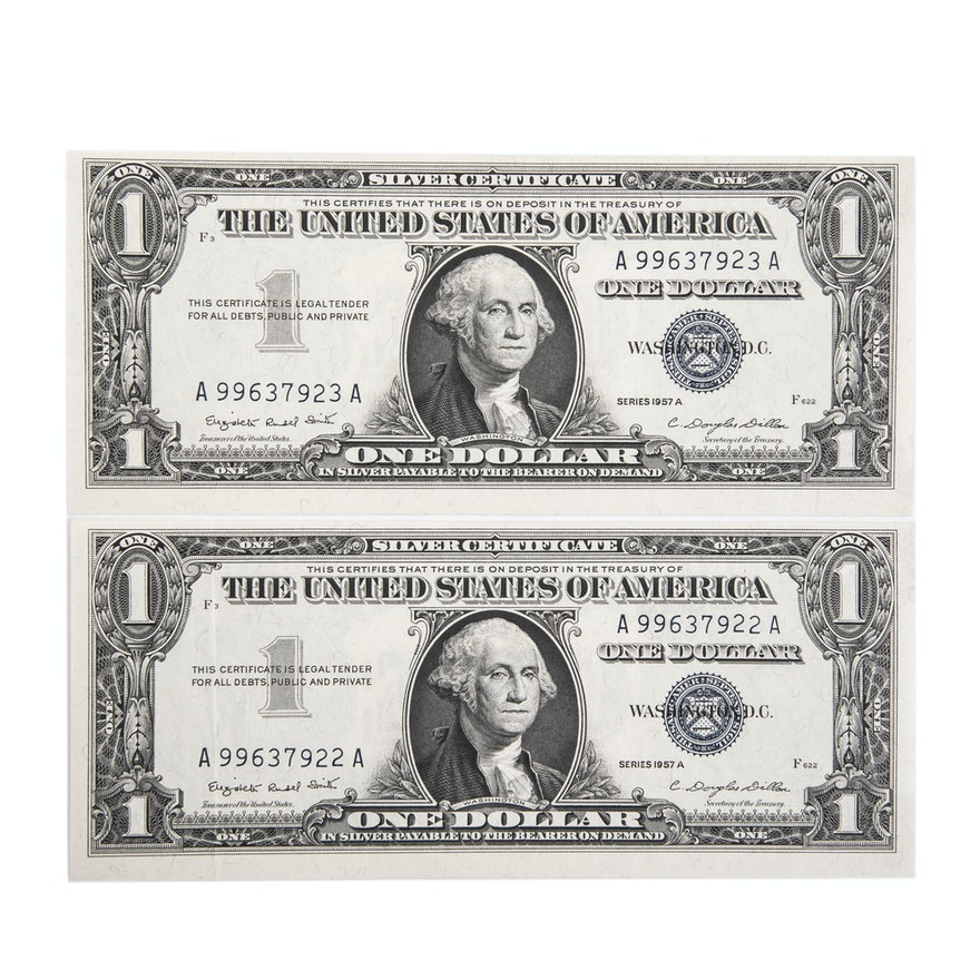 Pair Of 1957 A Blue Seal Silver Certificates Ebth