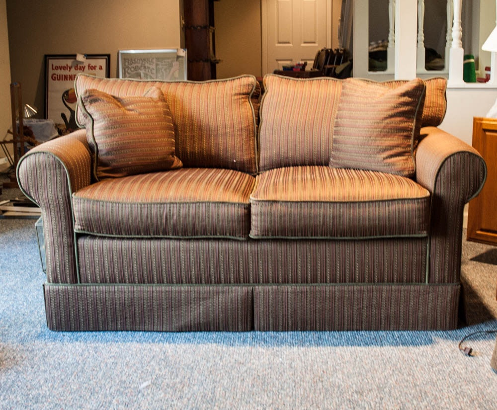 Brown Striped Sofa by Norwalk