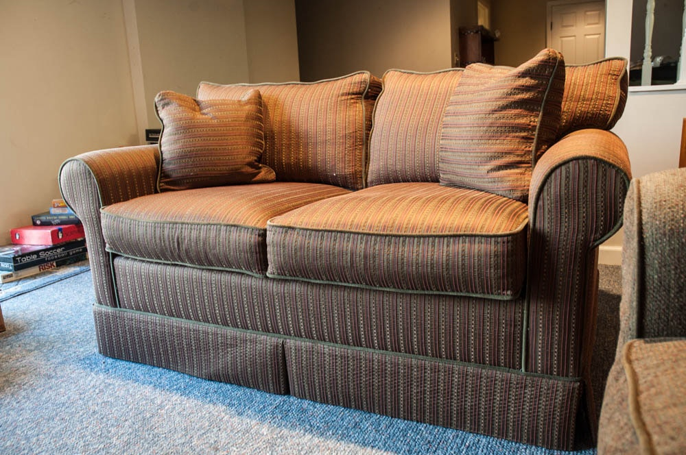Brown Striped Sofa By Norwalk Ebth