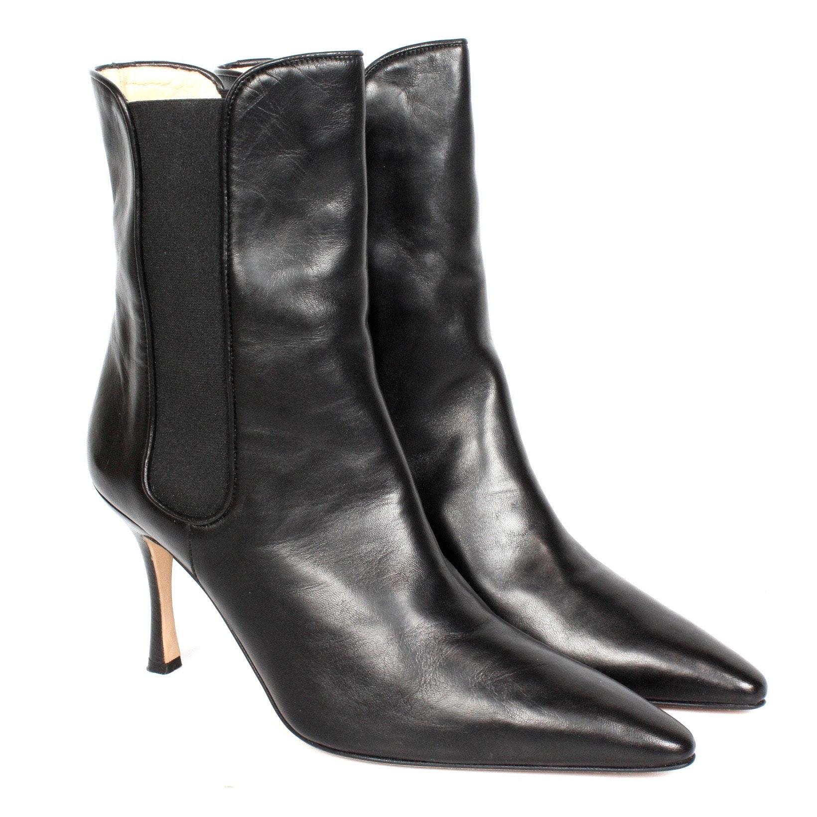 Manolo Blahnik Totalo Nappa Black Ankle Boots