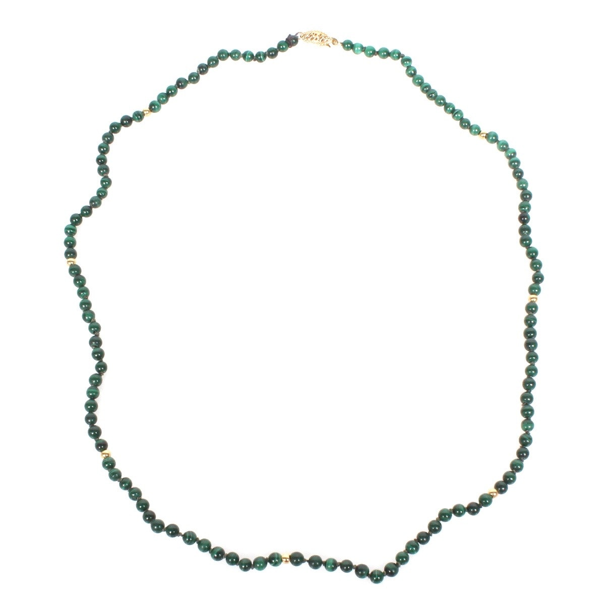 14K Yellow Gold and Natural Malachite Beaded Necklace