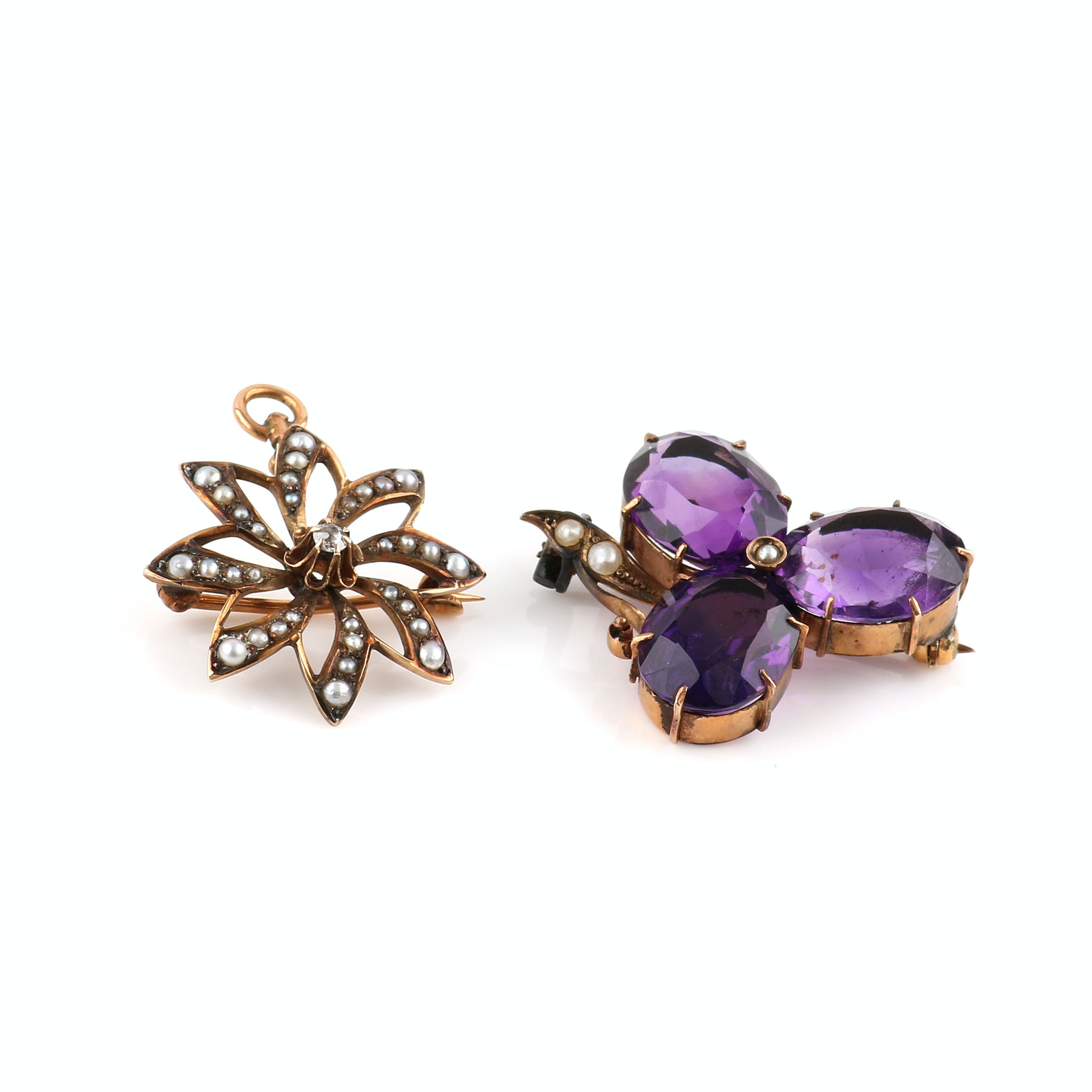 Selection of 9K and 10K Yellow Gold Amethyst, Pearl and Diamond Brooches