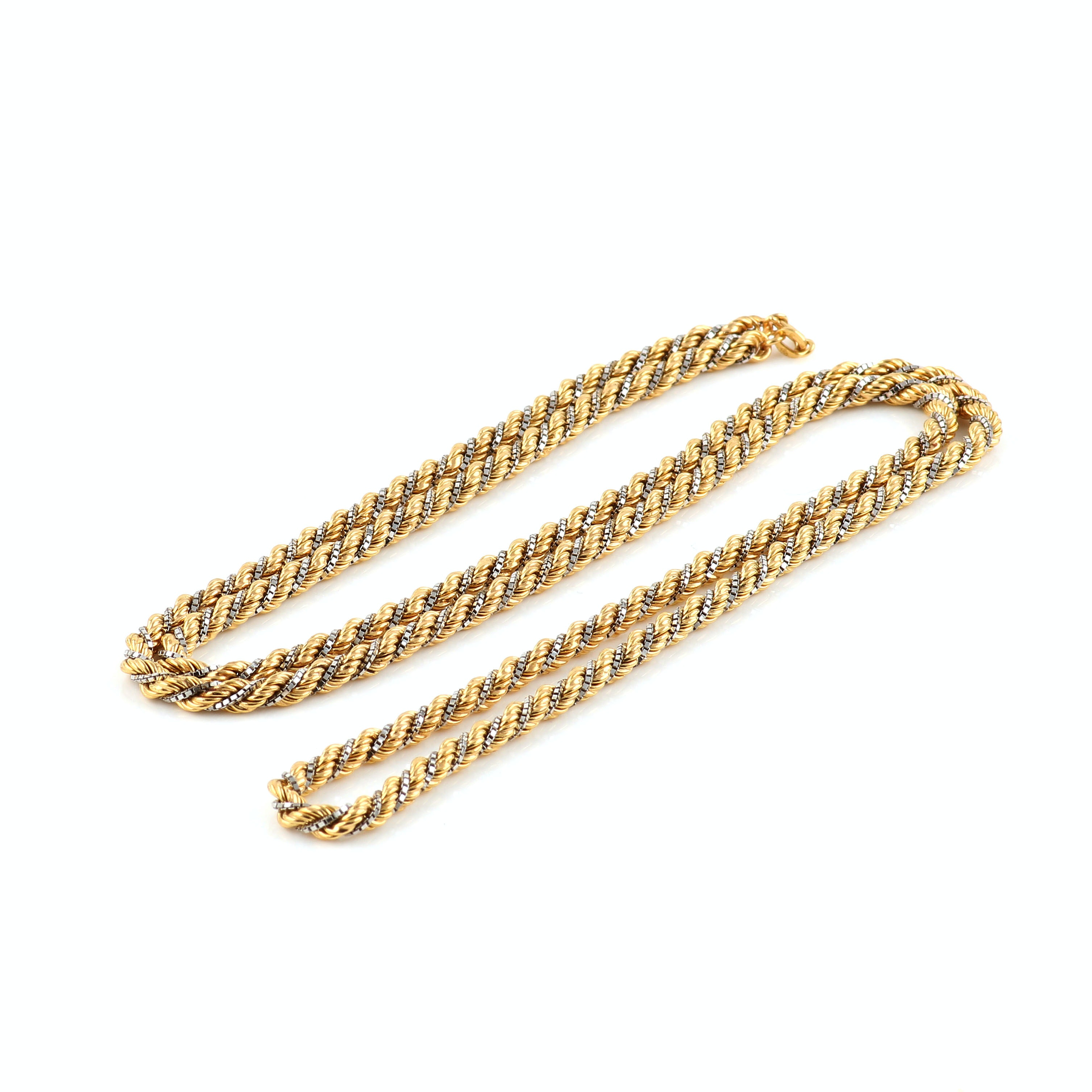 18K Yellow and White Gold Twisted Chain