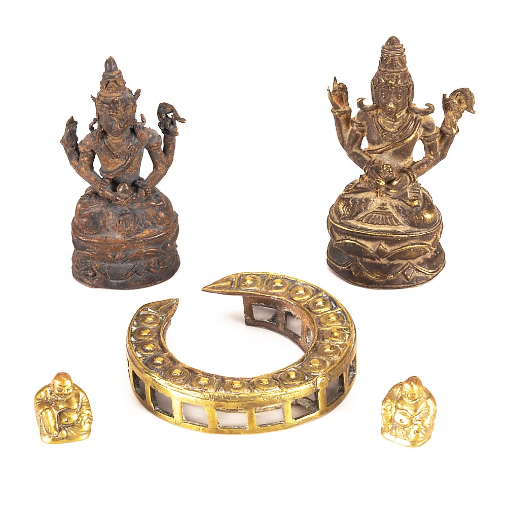 Group of Asian Cast Brass Figurines