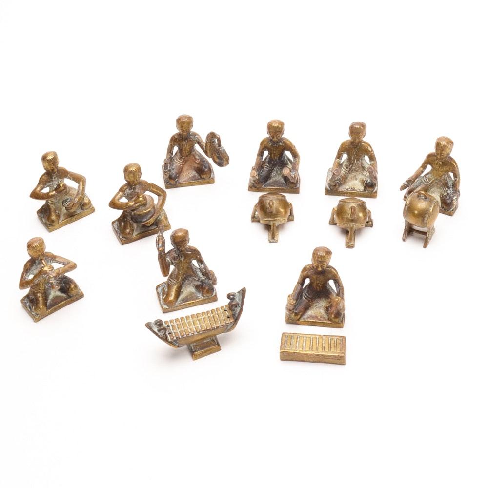 Group of Asian Cast Brass Musician Figurines