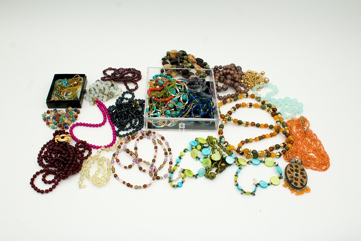 Generous Collection of Beaded Necklaces and Bracelets