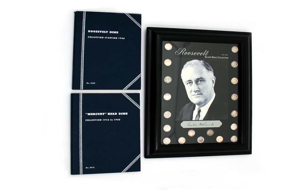 Collection of Silver Roosevelt Dimes Including a Framed Piece